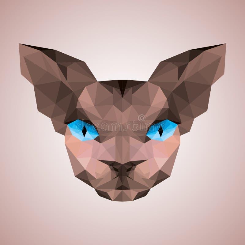 Cara do gato de Sphynx baixo poli ilustração stock