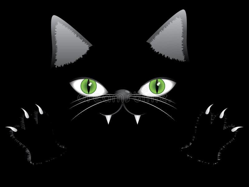 Cara do gato preto com pata ilustração royalty free