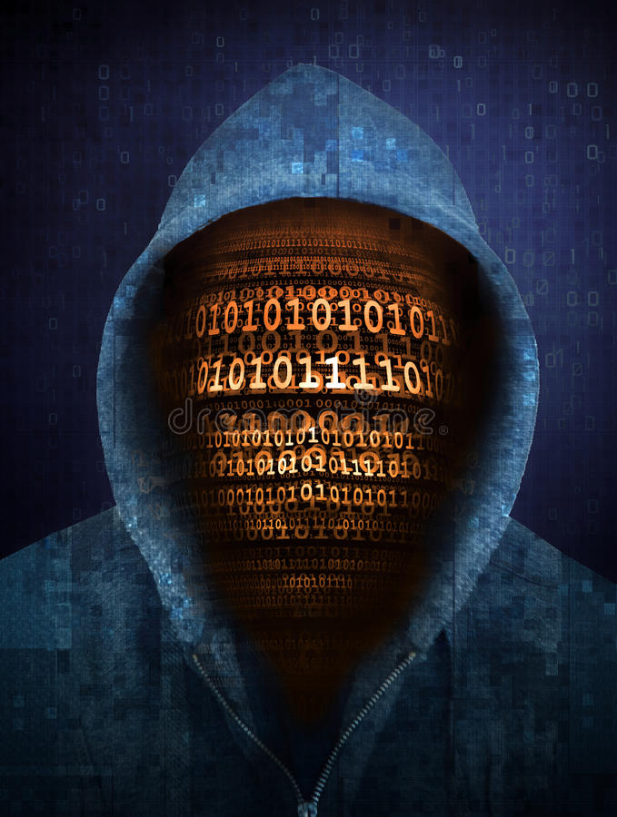 Cara do hacker feita com números ilustração stock