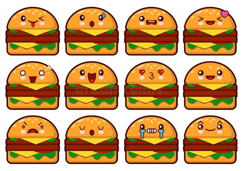 Cara do Hamburger do Emoticon em um fundo branco ilustração royalty free