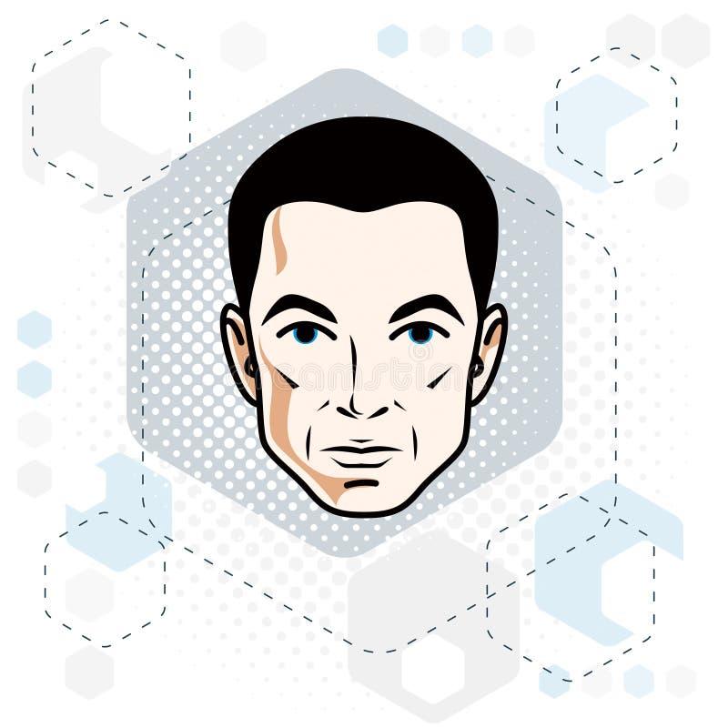 Cara do homem, cabeça humana Caráter do vetor, sagacidade masculina triguenha considerável ilustração royalty free