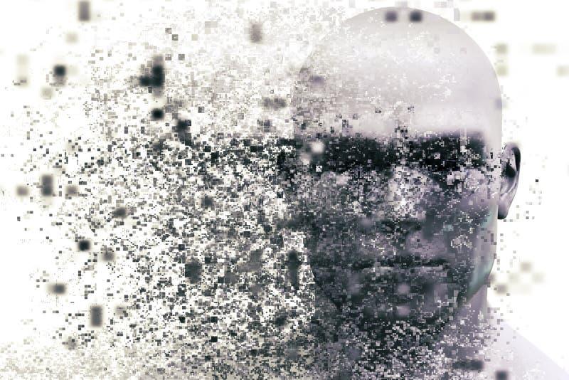 Cara do homem com efeito da dispersão do pixel Conceito da tecnologia ilustração do vetor