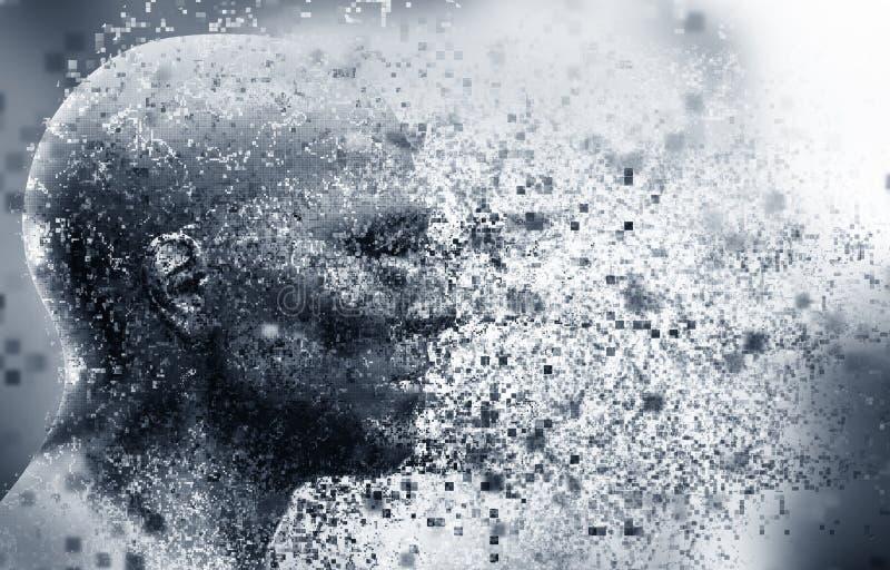 Cara do homem com efeito da dispersão do pixel Conceito da tecnologia, ciência moderna mas igualmente desintegração ilustração do vetor