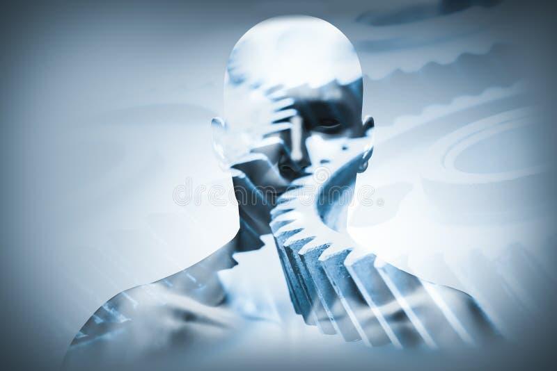 Cara do homem com a folha de prova mecânica da roda denteada ilustração do vetor