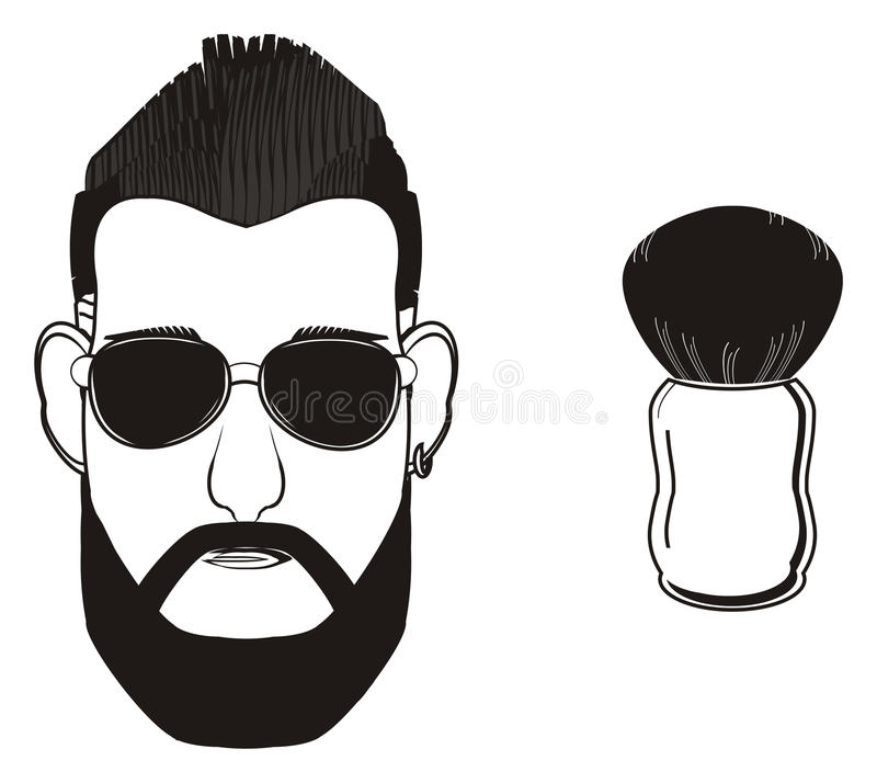 Cara do homem com objeto ilustração stock