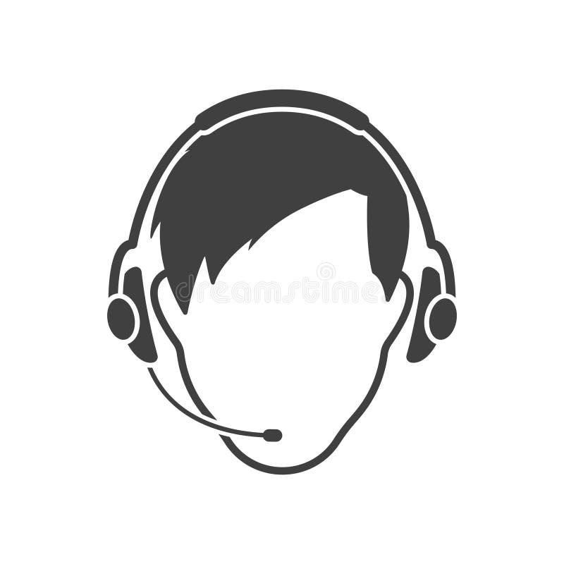 A cara do homem nos fones de ouvido com um microfone Vetor no fundo branco ilustração royalty free