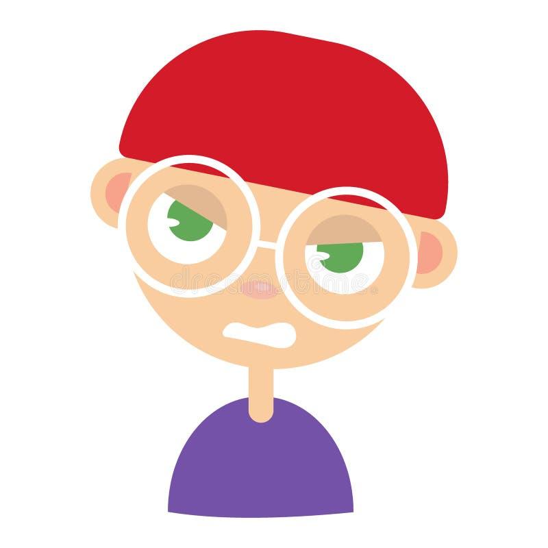 Cara do homem novo, expressão facial irritada, ilustrações do vetor dos desenhos animados Os olhares severos consideráveis do men ilustração stock