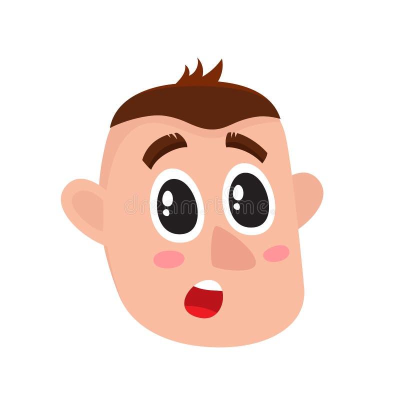 Cara do homem novo, expressão facial surpreendida ilustração stock