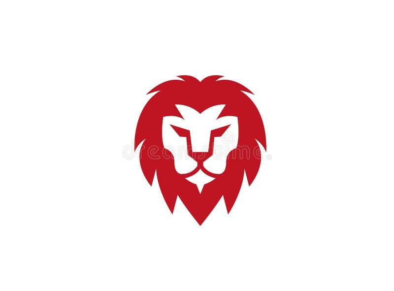 Cara do leão e logotipo principal vermelho ilustração stock