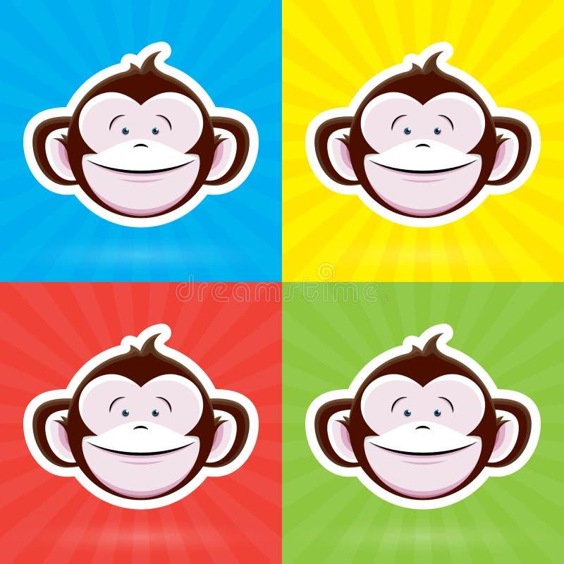 Cara do macaco dos desenhos animados com expressão infantil feliz no fundo colorido ilustração stock