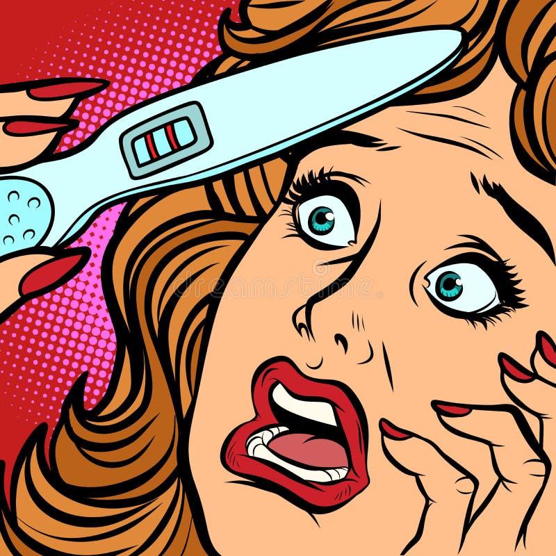 Cara do medo da mulher das tiras do teste de gravidez dois ilustração stock