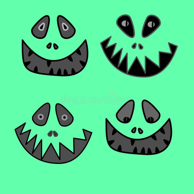 Cara do monstro do anime dos desenhos animados com sorriso toothy grande e colagem para fora da ilustração do vetor da língua ilustração do vetor