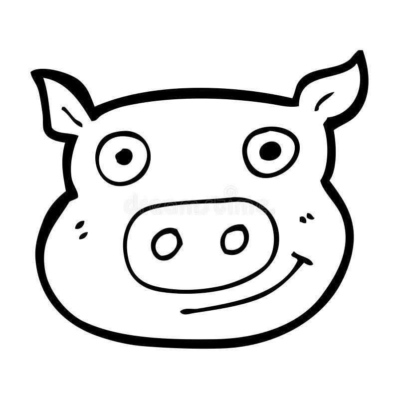 cara do porco dos desenhos animados ilustração royalty free