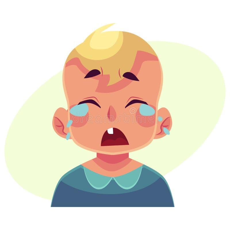Cara do rapaz pequeno, expressão facial de grito ilustração do vetor