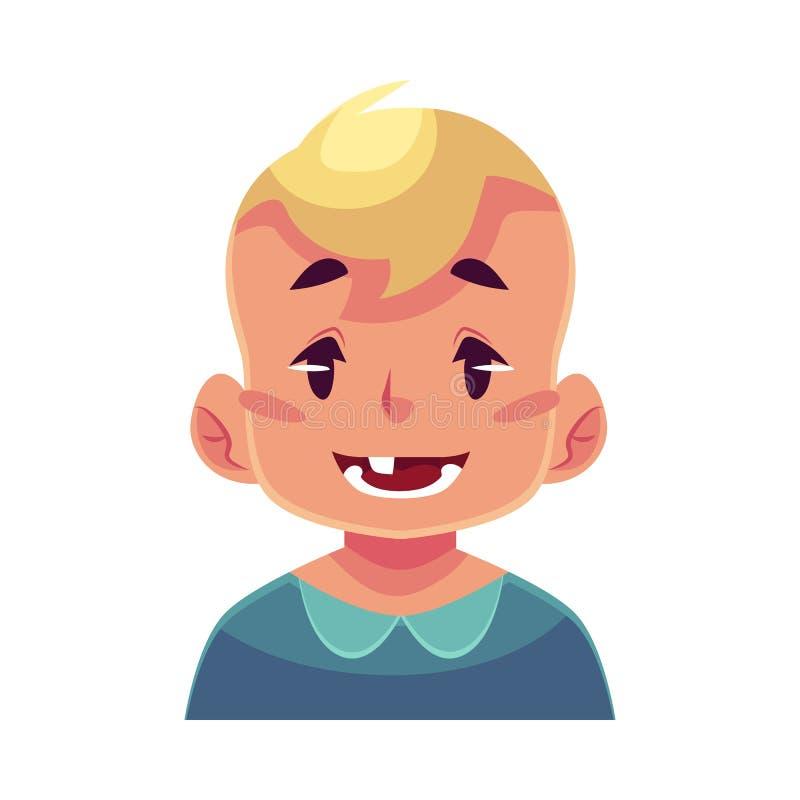 Cara do rapaz pequeno, expressão facial de sorriso ilustração royalty free