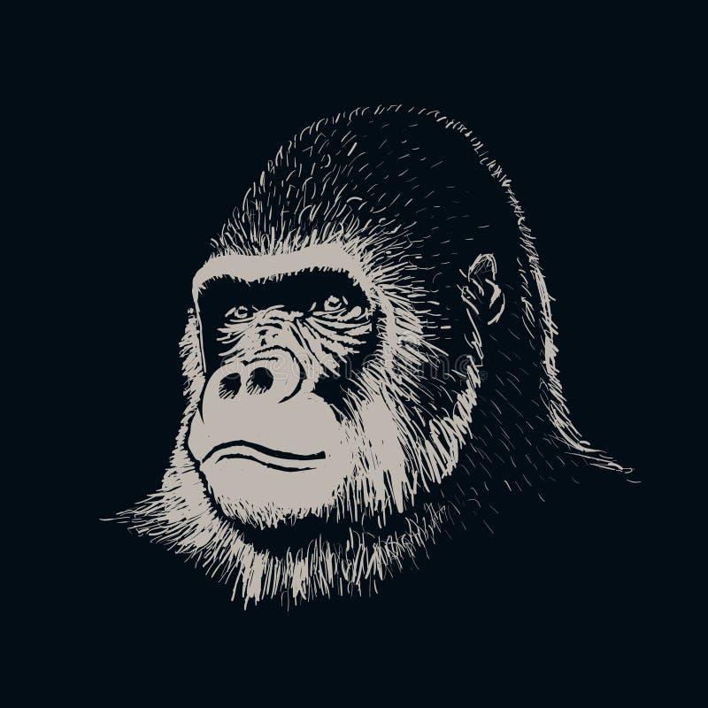 Cara do retrato do gorila ilustração do vetor