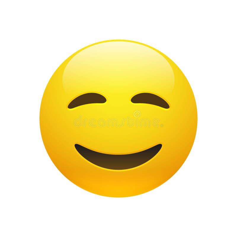 Cara do smiley do amarelo de Emoji do vetor ilustração royalty free