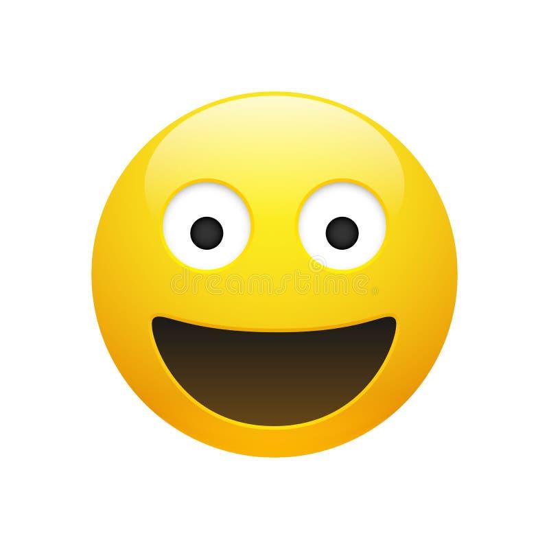 Cara do smiley do amarelo de Emoji do vetor com olhos ilustração royalty free