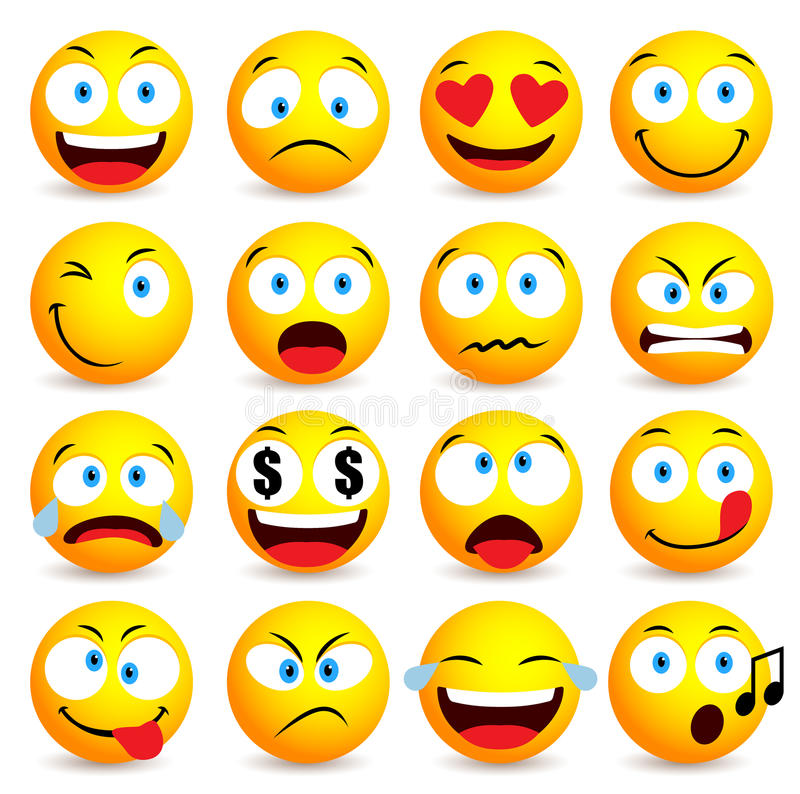 Cara do smiley e grupo simples do emoticon com expressões faciais