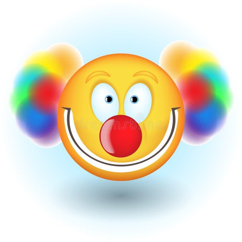 Cara do smiley no traje do palhaço com cabelo colorido ilustração do vetor