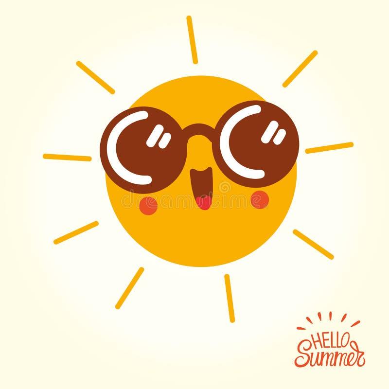 Cara do sol dos desenhos animados do verão com óculos de sol e sorriso feliz ilustração stock