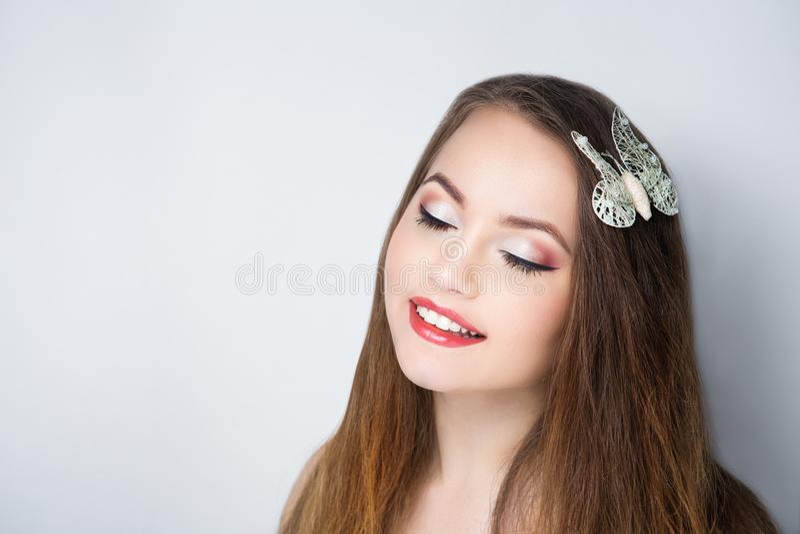 Cara do sorriso da mulher foto de stock royalty free