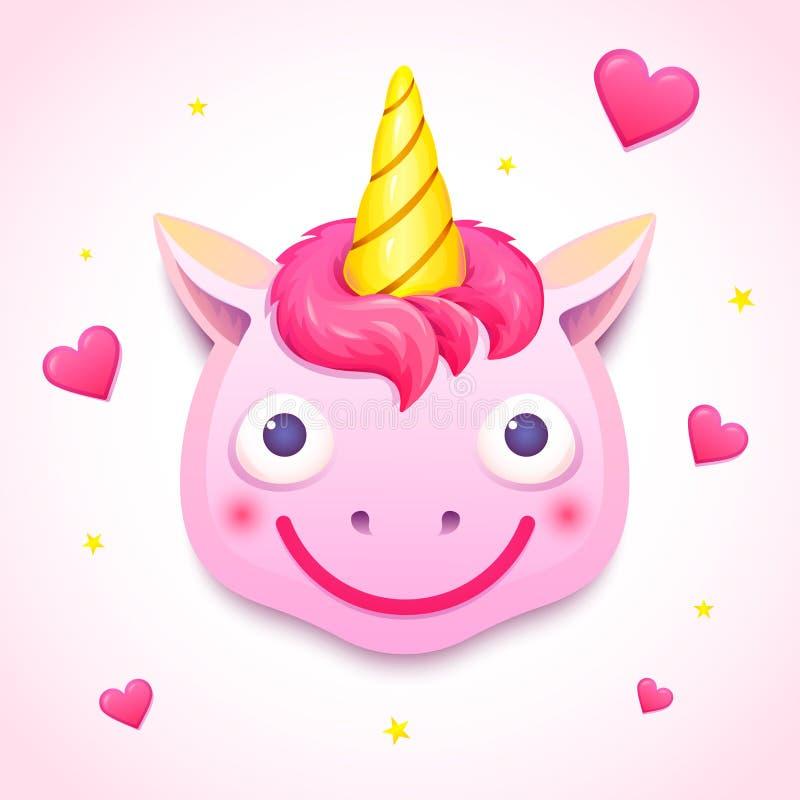 Cara do unicórnio de Emoji, ilustração do vetor ilustração royalty free