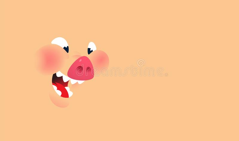 Cara dos desenhos animados de um porco Vetor Fundo para o texto e o projeto Emoção, um sorriso de um caráter da carne de porco Il ilustração do vetor