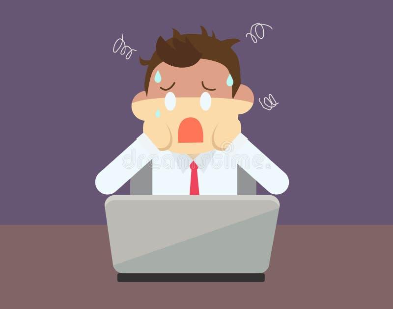 Cara dos desenhos animados do homem de negócio um problema sobre seu negócio ilustração royalty free