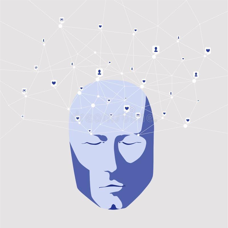Cara e redes sociais, rede de pessoal e contatos comerciais do homem moderno ilustração royalty free