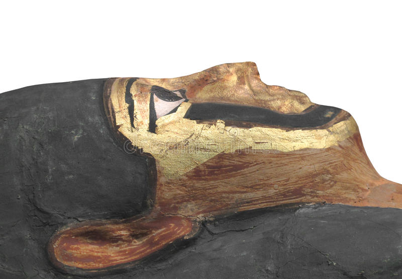 Cara egípcia antiga da mamã isolada. fotografia de stock royalty free