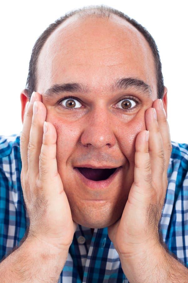 Cara emocionada feliz del hombre imagen de archivo