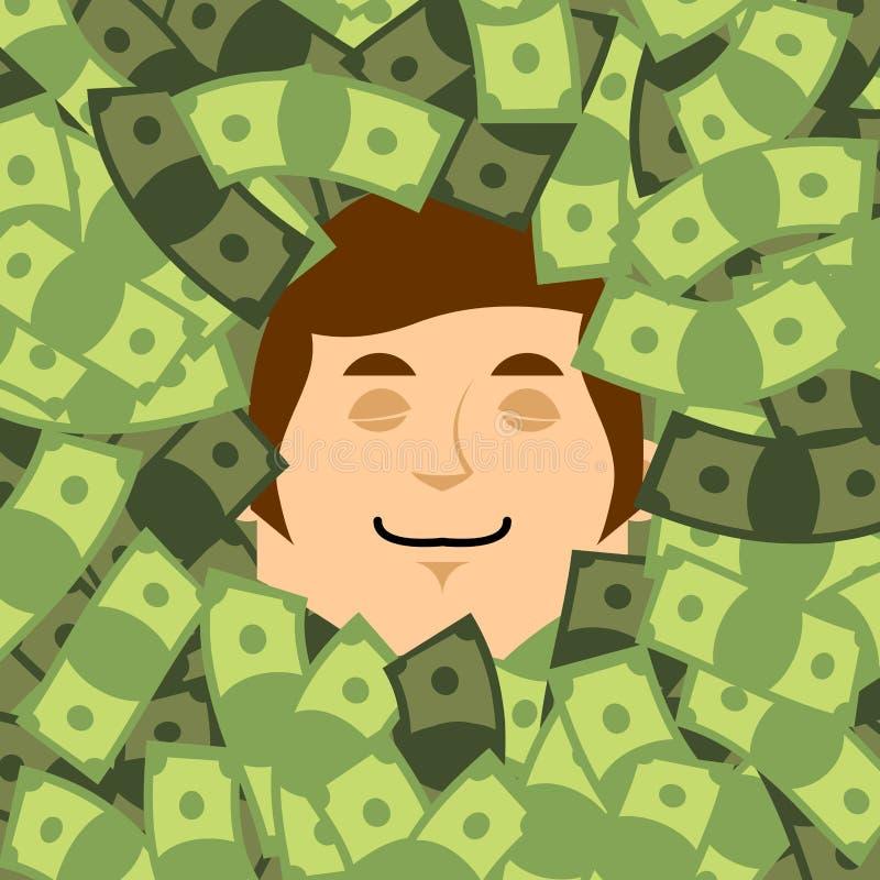 Cara en dinero Cabeza en dólares afortunado financiero El hombre de negocios es ilustración del vector