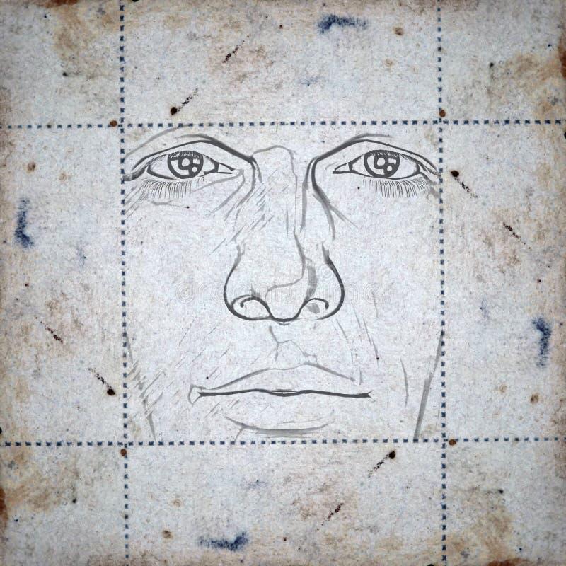 Cara en el papel manchado libre illustration