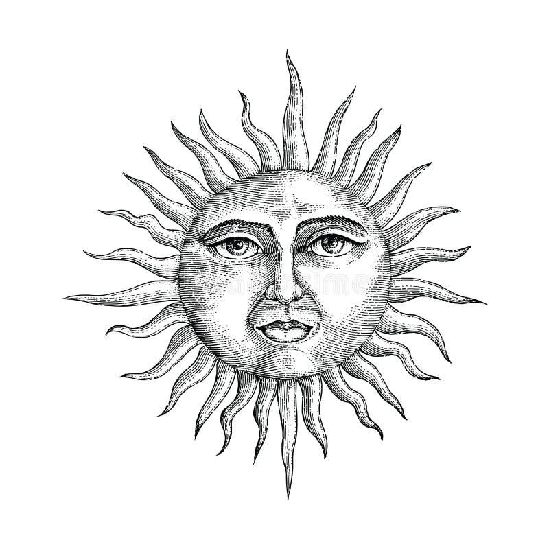Cara en estilo del grabado del dibujo de la mano del sol ilustración del vector