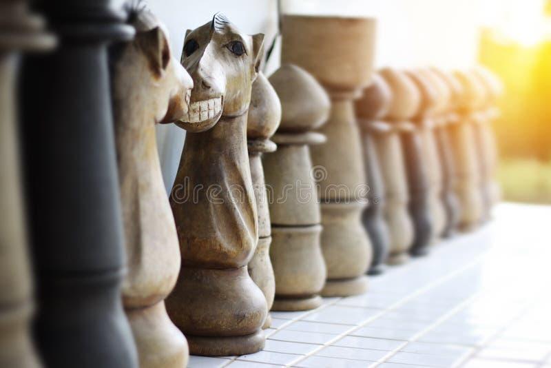 Cara engraçada no cavaleiro da xadrez feito de madeira Cara a cara KNI fotos de stock