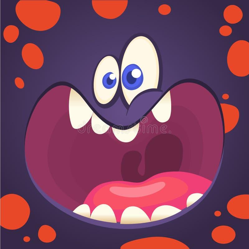 Cara enojada del monstruo de la historieta Imagen del vector del monstruo divertido del duende ilustración del vector