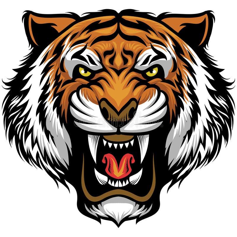 Cara enojada del tigre stock de ilustración