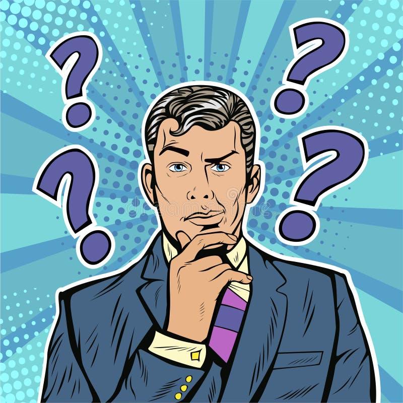 Cara escéptica de las expresiones faciales del hombre de negocios del arte pop con los signos de interrogación ilustración del vector