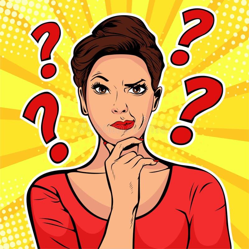 Cara escéptica de las expresiones faciales de la mujer con los signos de interrogación sobre la cabeza Ejemplo retro del arte pop stock de ilustración