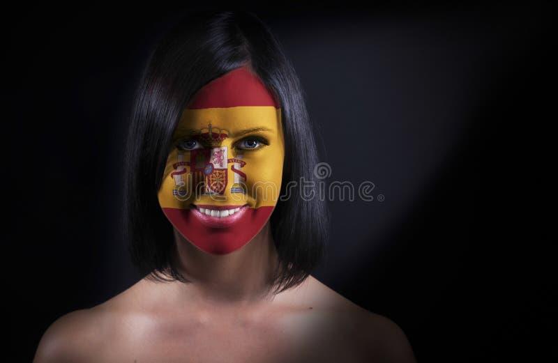 Cara española de la bandera foto de archivo