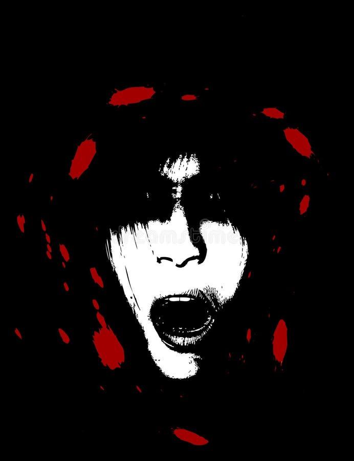 Cara espeluznante asustadiza y sangrienta de las mujeres ilustración del vector
