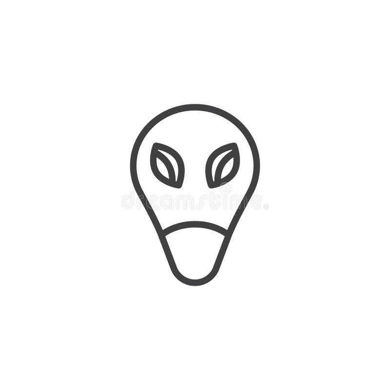 A cara estrangeira com grandes olhos alinha o ?cone ilustração stock