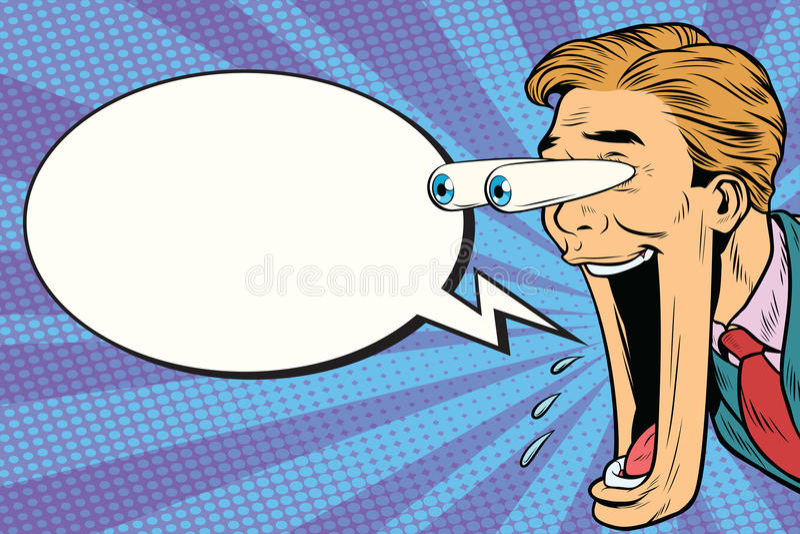 Cara expresiva híper del hombre de la historieta de la reacción, burbuja cómica libre illustration