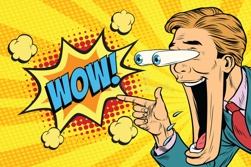 Cara expressivo Hyper do homem dos desenhos animados da reação uau, olhos grandes e wid ilustração royalty free