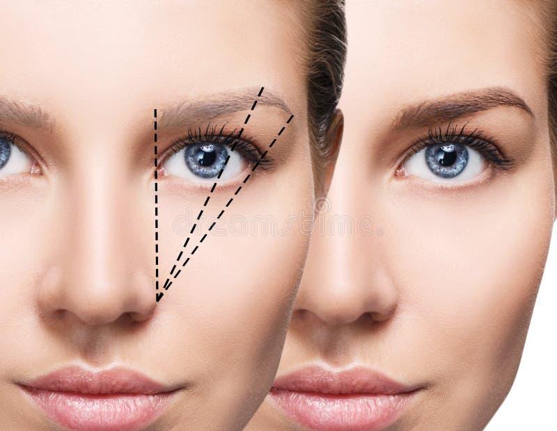 Cara fêmea antes e depois da correção das sobrancelhas fotos de stock royalty free
