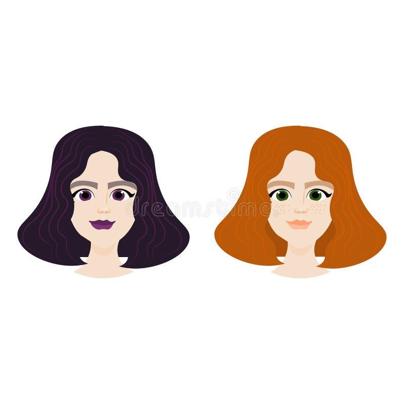 Cara fêmea com os penteados diferentes isolados no fundo branco, retratos da menina ilustração do vetor