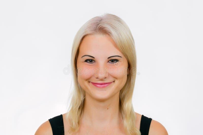 Cara fêmea com sorriso do palhaço fotos de stock royalty free