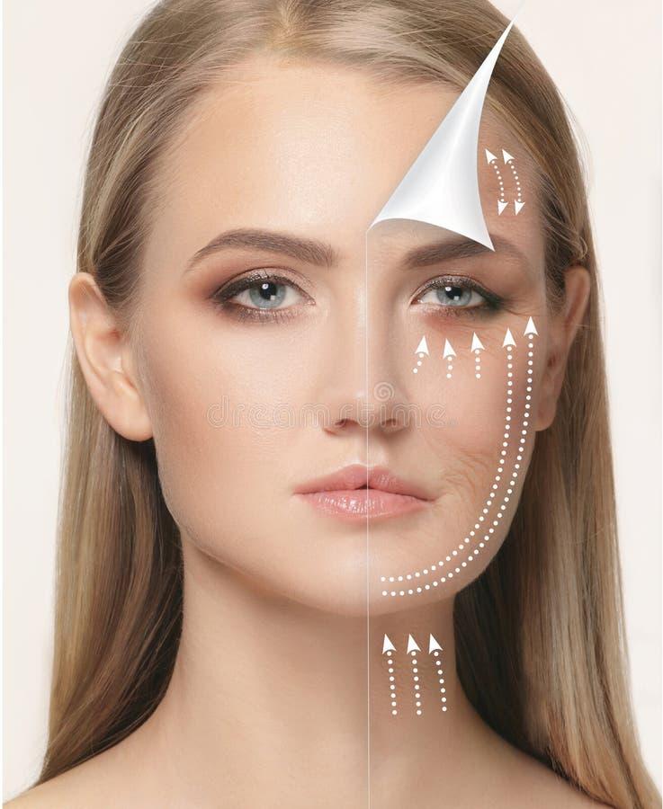 A cara fêmea nova Conceito de levantamento antienvelhecimento e da linha imagens de stock royalty free