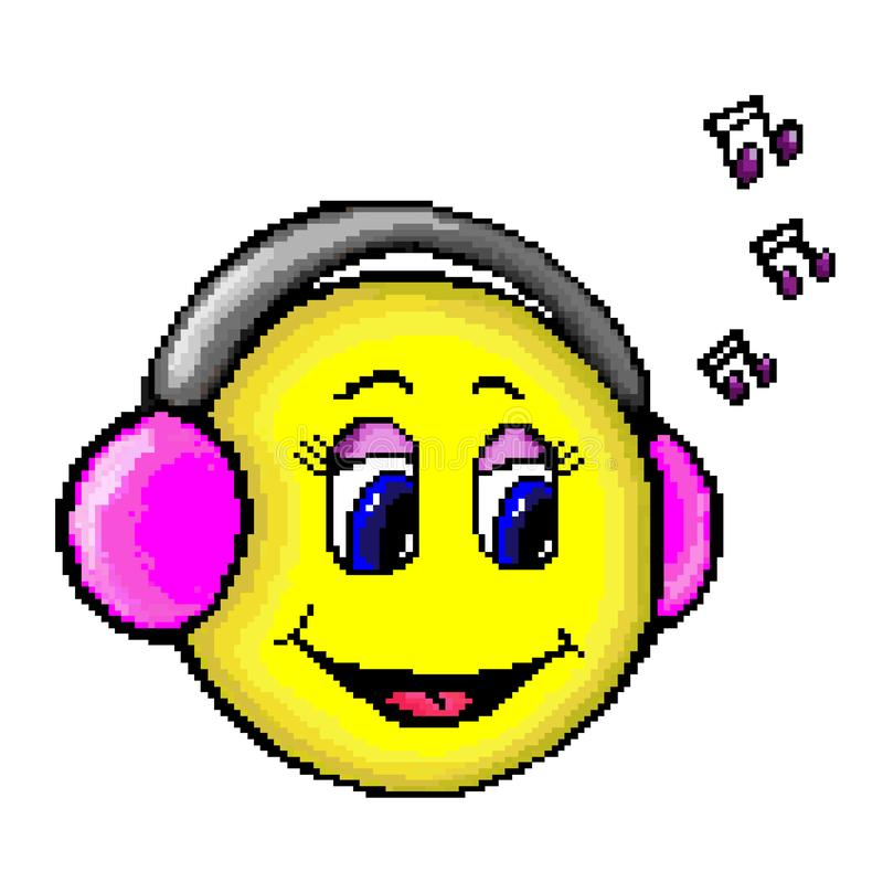 Cara feliz amarilla de los medios del icono del símbolo emocional social del pixel en auriculares rosados libre illustration